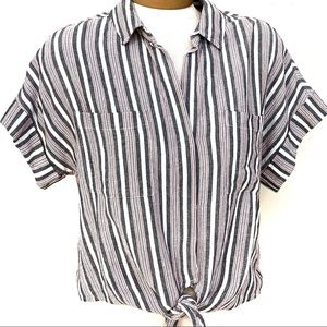 Cloth & Stone Linen Blend Striped SS Shirt XS